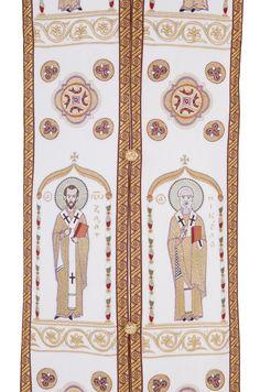 Embroidery on the epitrachelion, $1,150.00, This set includes 7 items: sakkos, epitrachelion, cuffs (epimanikia), belt (zone), small omophorion, big omophorion, epigonation (palitsa). Catalog of St. Elisabeth Convent. About workshop  http://catalog.obitel-minsk.com/sewing-workshop #russian #orthodox #bishop #vestment #sewn #goods #Christianity #orthodoxy #handmade #art #beauty #ecclesiastical #CatalogOfGoodDeed #church
