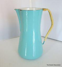 SOLD!  Vintage Dansk Kobenstyle Pitcher-IHQ Denmark Mid-Century Enamelware Aqua Pitcher. $65.00, via Etsy.