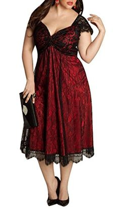 Oberora-Womens-Elegant-V-Neck-Lace-Plus-Size-Cocktail-Gothic-Dress-0