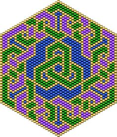 Graph paper for mandala type bead designs and a pattern for a knotwork design in brick stich.