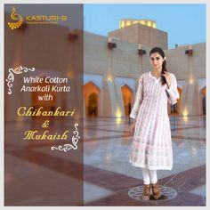 Fashion is what you're offered four times a year. Style is timeless. Experience timeless style with this white cotton Chikankari anarkali kurta adorned with mukaish. Absolutely affordable luxury for this summer.  To buy it now, simply click the following link: https://www.kasturi-b.com/white-cotton-anarkali-kurta-with-chikankari-mukaish.html #Chikankari #AnarkaliKurta #Mukaish #StyleDiaries