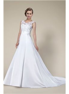 New Arrival Fashion Concise Lace Sleeveless Chapel Train Wedding dress
