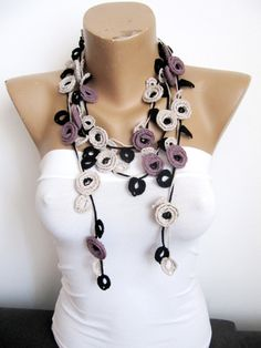 Crochet Necklace  Pale Purple-Beige Black ROSES-Turkish by byGuls
