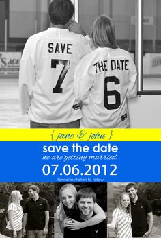 save the date card hockey wife problems