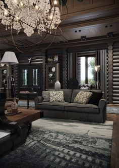 Mixed with all the dark color scheme furniture and wall color, you can tell this is implying a dark light to it due to its dark feeling/tone of the room Lodge Style, Log Cabin Homes, Home Technology, Interior Decorating, Interior Design, Cabins And Cottages, Cabin Interiors, House In The Woods, Home Living Room