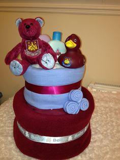 FOOTBALL TEAM NAPPY CAKE