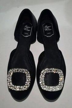 2798b52a0b19 roger vivier Style Black Flat Diamond Glitter Shining Size 8 Size 39 Shoes  #fashion #