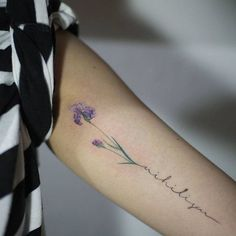 Delicate Purple Iris Tattoo by tattooistmuha