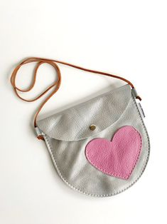 Silver leather girls Valentine's Day purse, little girls heart purse bag Kids Purse, Leather Bag Pattern, Glitter Canvas, Fabric Gift Bags, Canvas Purse, Leather Projects, Girls Bags, Valentines For Kids, Leather Craft
