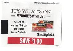 Smithfield bacon products - 01/31/2015 - (6) - $1.00 on TWO (2)