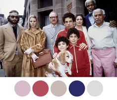 The Royal Tenenbaums, Wes Anderson 2001 - colour palettes from… Wes Anderson Style, Wes Anderson Movies, Movie Color Palette, Colour Pallette, Renoir, Wes Anderson Color Palette, Pop Culture Halloween Costume, Halloween Outfits, Halloween Costumes