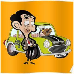 Mr Bean Green Car Poster Mr Bean Cartoon Mr Bean Birthday Mr Bean