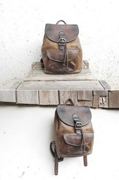 Vintage Distressed Leather Backpack // Small by VindicoShop, $80.00