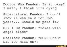 superwholock, sherlock, doctorwho, supernatural, tumblr<<<< the holy trinity of fandoms on tumblr: supernatural=the father, sherlock=the son, doctor who=the holy spirit