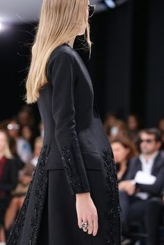 Spring 2015 Ready-to-Wear - Christian Dior -- Evening coat with pockets along side hip and intricate beading along edging and sleeves.