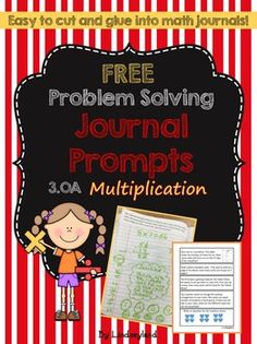 This FREE sample of multiplication Problem Solving Journal Prompts include 5… Teacher Created Resources, Math Resources, Math Activities, Math Games, Math Journal Prompts, Math Journals, Notebooks, Multiplication Problems, 3rd Grade Math
