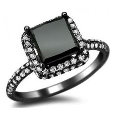 2.56ct Black Princess Cut Pave Diamond Engagement Ring 18k Black Gold... ($2,095) ❤ liked on Polyvore featuring jewelry, rings, accessories, anel, aneis, yellow gold pave diamond ring, princess cut ring, 18k yellow gold ring, gold jewellery and pave diamond engagement rings