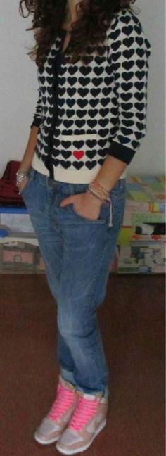 Boyfriend Jeans and Heart Cardigan
