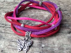 Pink, Red and Purple Double Wrap Leather Suede Glamor Handmade Bracelet with Butterfly Charm by EffyBuu on Etsy #leather #hippie  #bracelet #handmade #doublewrap #suede #butterfly