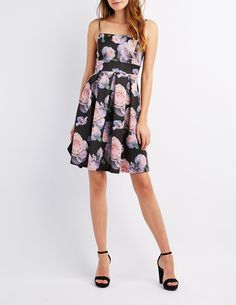 76121f41825f8 Floral Pleated Skater Dress. charlotterusse.com. Black Floral Pleated  Skater Dress - Size S