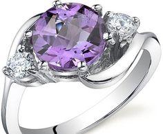 3 Stone Design 1.75 carat Amethyst Ring in Sterling Silver ►► http://www.gemstoneslist.com/jewelry/silver-amethyst-rings.html?i=p