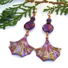 Orchid Purple Fan Earrings Handmade Coin Pearls Amethyst Boho Jewelry | ShadowDogDesigns - Jewelry on ArtFire