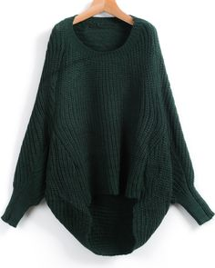 Shop Green Long Sleeve Dipped Hem Loose Sweater online. Sheinside offers Green Long Sleeve Dipped Hem Loose Sweater & more to fit your fashionable needs. Free Shipping Worldwide!