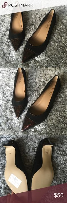 NWT talbots leather kitten heels Gorgeous tortoise marbled cap toe leather kitten pumps. Sz 8. Display condition (NWT but tried on with a few extremely tiny scuffs on bottom, photo). Retails $150 cap toe is a deep brownish black and rest of shoe is black. Talbots Shoes Heels
