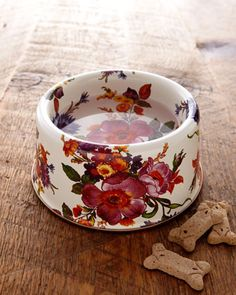 "This is the prettiest dog bowl I've ever seen. ""Flower Market"" Pet Bowl - Neiman Marcus"