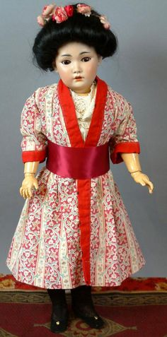 """18"""" Simon Halbig 1329 Oriental All Antique Bisque Doll with Box 