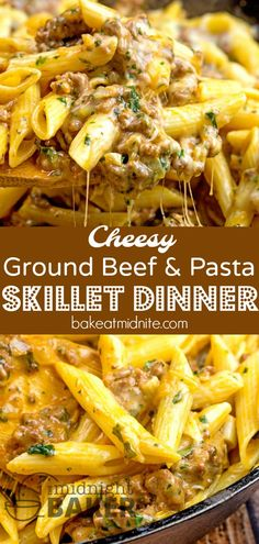 Great for using any leftover pasta! Simple and inexpensive cheesy ground beef skillet dinner that's nice enough for company #groundbeef #pasta #skilletdinners #easyrecipes