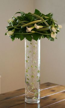 modern asian flower arrangement with white calla lilies. Black Bedroom Furniture Sets. Home Design Ideas