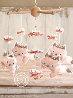 Light Pink Fox Mobile, Baby Girl Mobile, Baby Girl #NurseryDecor by #LollyCloth