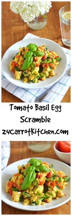 Paleo Tomato Basil Egg Scramble Recipe