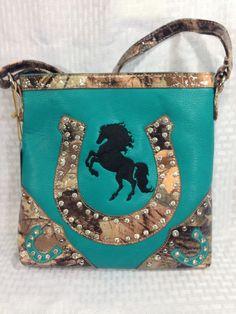 Messenger Bag CROSSBODY Purse Blue Western CAMO Horseshoe Rhinestone Teal Horse