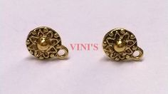 SH7 Antique Gold stud base with loop Stud size 10mm, With Rubber stopper Rs- 18/pair