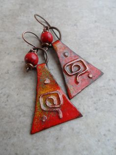 Seeing Red ... Enameled Copper Charm and Copper Wire-Wrapped Rustic, Boho, Southwestern, Native, Tribal Earrings