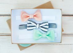 Tuxedo Bow Headband Set of Three Fabric by WearLoveAmalieMaren // Fabric Bow // Little Baby Bow // Dainty Bow // Infant Bow // Baby Girl Headbands