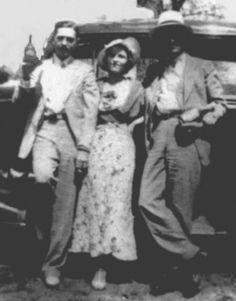Bonnie and Clyde photographed with Henry Methvin and Joe Palmer, 1934. Henry Methvin was the final member of Bonnie and Clyde's gang and whose father, Ivan Methvin, was handcuffed to tree and used his log truck to slow them down so they could shoot...