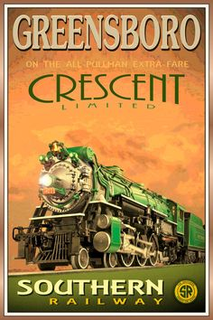 Greensboro N Carolina Crescent Southern Railway Train Poster Impressão artística 158 | eBay