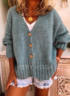 Solid Cable-knit Chunky knit V-Neck Cardigan - Sweaters - veryvoga Plus Size Sweaters, Casual Sweaters, Loose Knit Sweaters, Cardigan Pattern, Knit Cardigan, Oversized Sweater Outfit, Vogue Knitting, T Shirts For Women, Clothes For Women