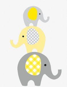 Whimsical Stacked Elephants Printable Yellow off) - Kalıp Panosu 3 Elephant Quilt, Elephant Applique, Baby Applique, Elephant Nursery Art, Quilt Baby, Scrapbooking Image, Elephant Template, Baby Elefant, Tableau Design