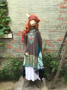 L/XL Boho Hoody Dress  Patchwork Maxi Dress  Eco by raggandbone