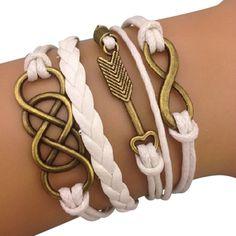 White Infinity times Infinity Arm Party Bracelet