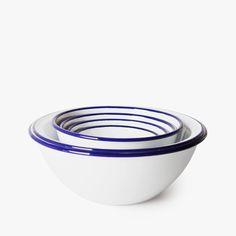 Mixing bowls set Falcon Enamelware • available on HNST.LY #enamel #cooking #hnstly #bluerim #whitedish #minimalist #timeless #pragueshopping #designinprague #design #praguedesign #designstore #hnstlystore Prague Shopping, Falcon Enamelware, Mixing Bowls, Bowl Set, Cooking, Tableware, Minimalist, Design, Serving Bowls