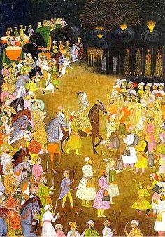 < 페르샤 공주의 결혼축하연>, 이슬람 문화권 그림. 색상이 다채롭다. 불꽃놀이, 사람들의 행렬 등 공주의 결혼이라 그런지 화려하다.