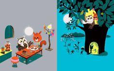"charming detail and distinctive colors, Marc Boutavant's new book ""Edmond, The Moonlit Party,"" spring 2015 #kidlit"