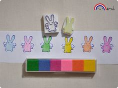 Ange Lapin Hand Carved Rubber Stamps by Memi The Rainbow, via Flickr