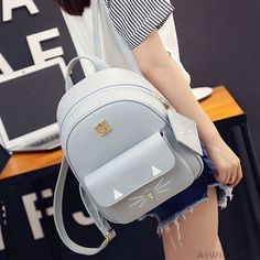 Cartoon Cat  Rucksack Cute Kitten Solid Schoolbag Student Backpack