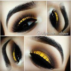 Cute eye make up Yellow Eye Makeup, Black Eye Makeup, Yellow Eyeshadow, Love Makeup, Makeup Inspo, Makeup Art, Makeup Inspiration, Makeup Tips, Beauty Makeup